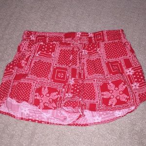 red print flowy shorts